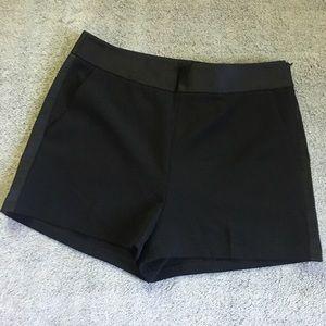 Express Black Faux Leather Stripe Dress Shorts